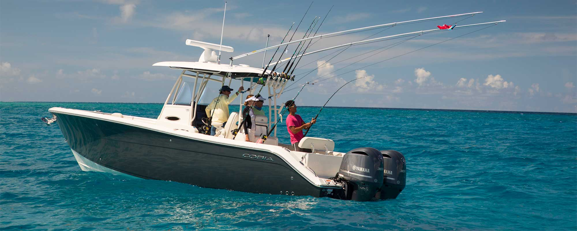 Cobia 301 center console fishing offshore