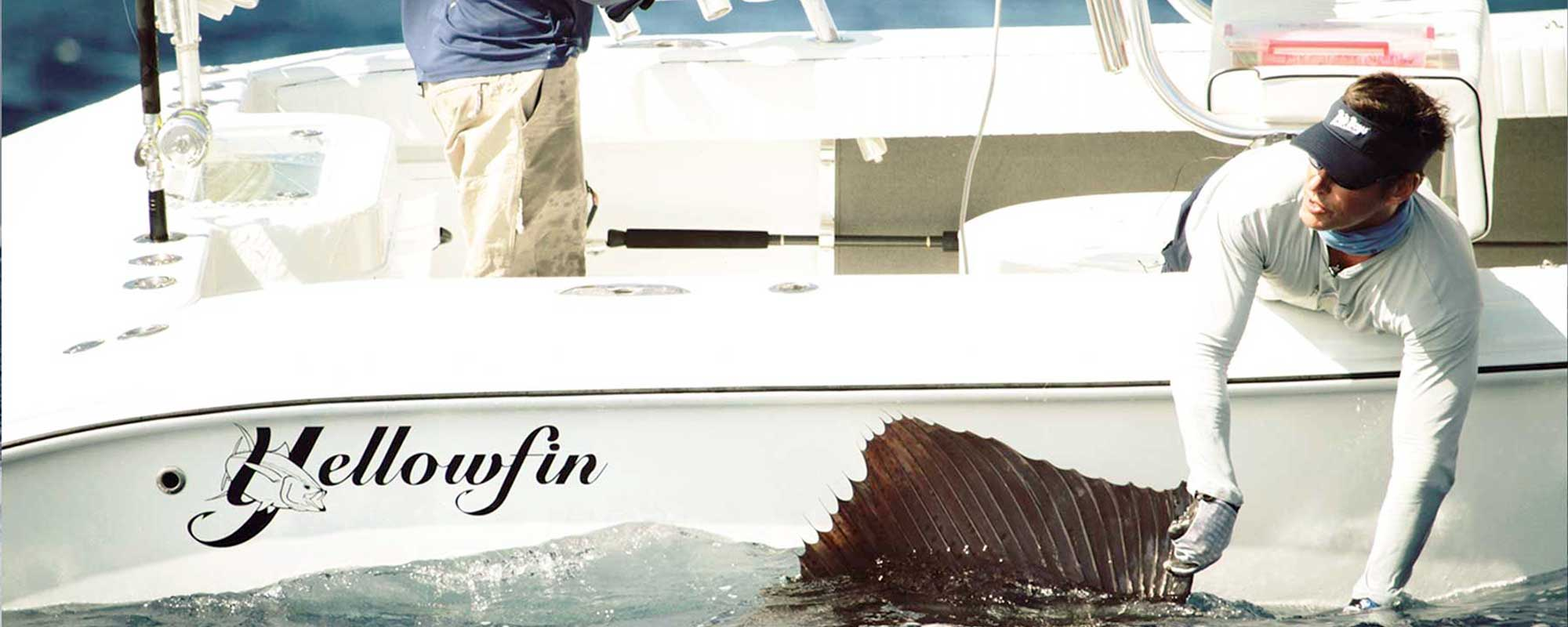 fisherman on yellowfin 30 pulling sailfish out