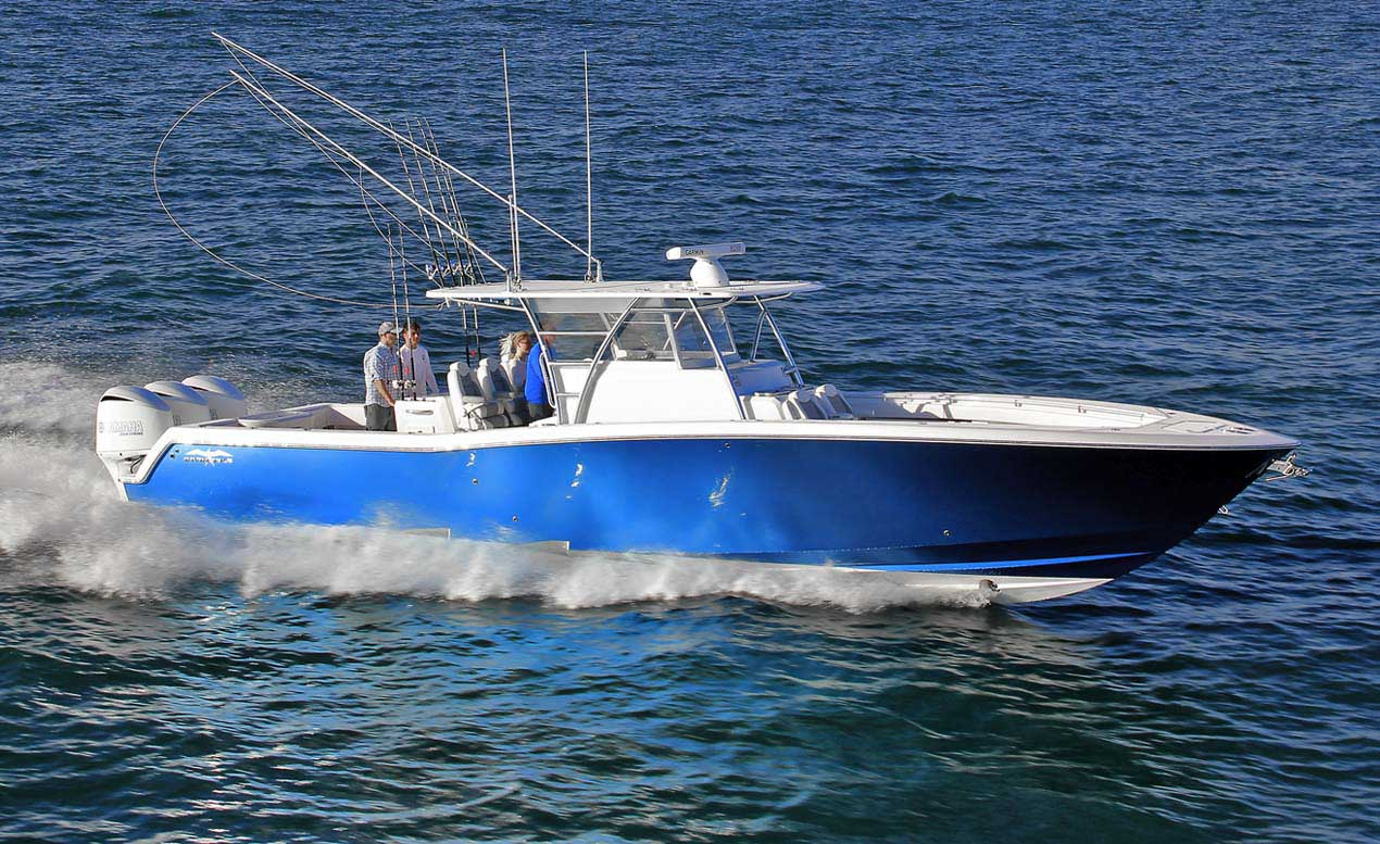 blue hull invincible fishing boat